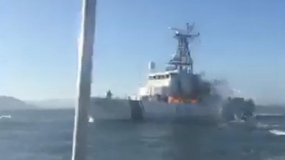 #Video Pescadores incendian barco de ONG que protege a vaquita marina - Foto de captura de pantalla