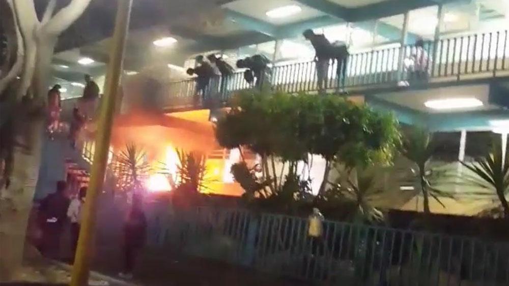 Artefacto explosivo provoca incendio en el CCH Naucalpan - Captura de pantalla