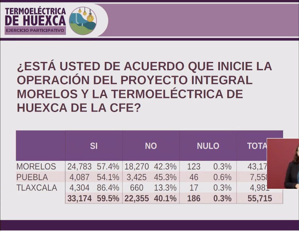 Resultado de la consulta sobre la termoeléctrica. Captura de pantalla