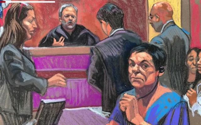 Juez otorga un mes a defensa de 'El Chapo' para solicitar nuevo juicio - Dibujo de una audiencia de 'el Chapo' Guzmán. Foto tomada de CNN