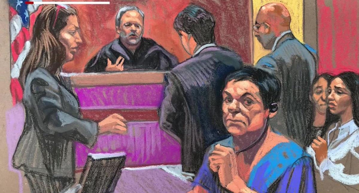 Dibujo de una audiencia de 'el Chapo' Guzmán. Foto tomada de CNN