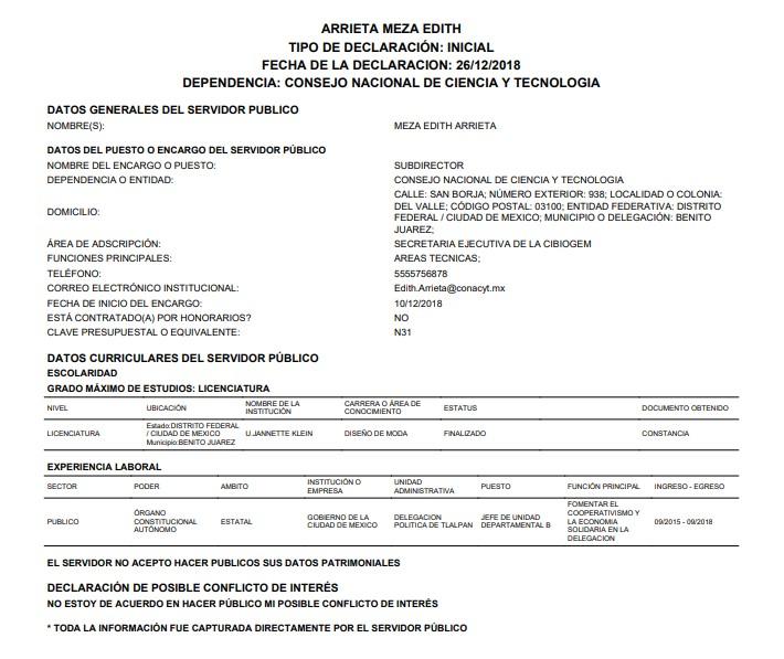 Declaración de bienes de Edith Arrieta. Foto de declaranet.gob.mx