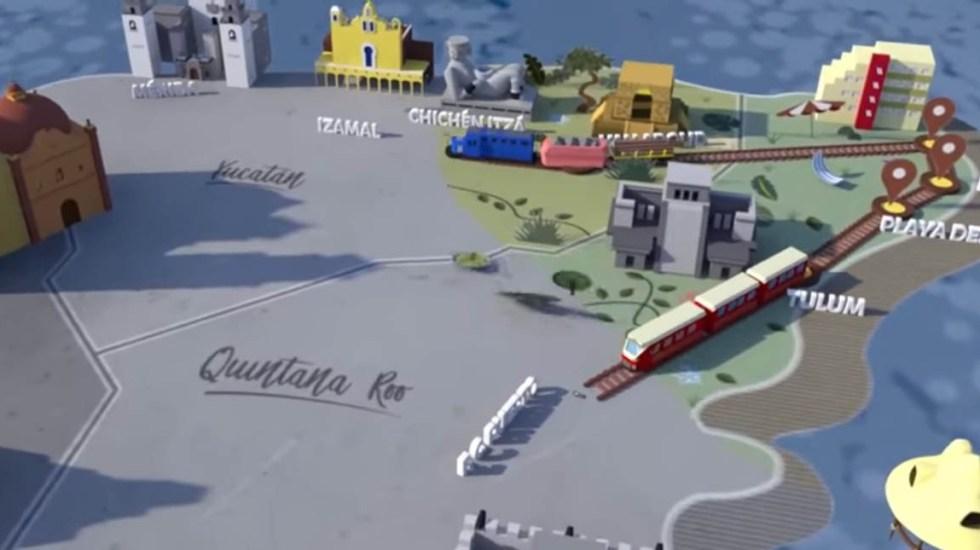 Compañía portuguesa buscará licitaciones en el Tren Maya - Proyección del Tren Maya. Captura de pantalla