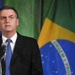 Bolsonaro llama a que Brasil y EE.UU. liberen Venezuela - El presidente de Brasil, Jair Bolsonaro, habla durante un diálogo sobre las relaciones entre Estados Unidos y Brasil en la Cámara de Comercio de los Estados Unidos en Washington. Foto de Mandel Ngan/AFP