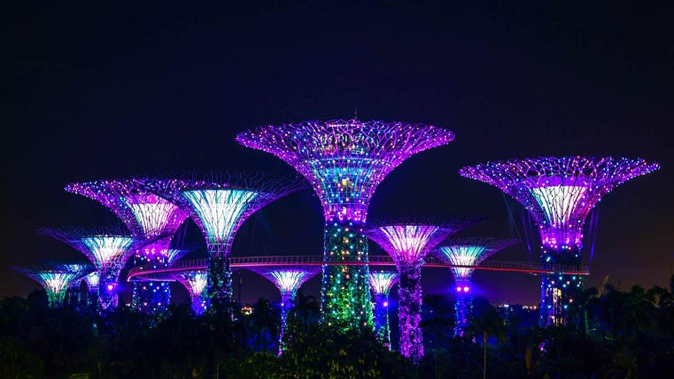 Jardines de la Bahía de Singapur. Son un parque de 101 hectáreas dividido en tres bahías que en la noche se iluminan. Foto de @fancycrave