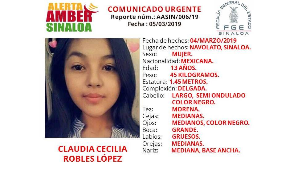 Desaparece menor por segunda vez en Navolato, Sinaloa - Foto de Alerta Amber