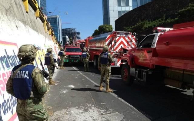 Participaron 18 elementos de Marina en labores por incendio en sede de Conagua - Foto de Notimex