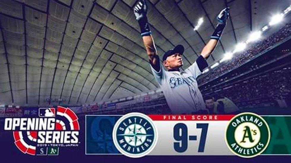Marineros de Seattle derrotan a Atléticos de Oakland en Japón - Foto de Twitter