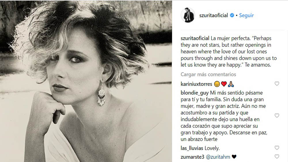 Post de Sebastián Zurita sobre su mamá. Foto de @szuritaoficial