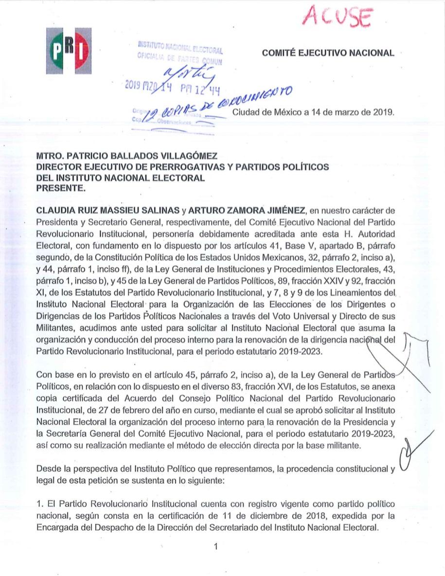 Primera página de la solicitud del PRI al INE. Foto del PRI