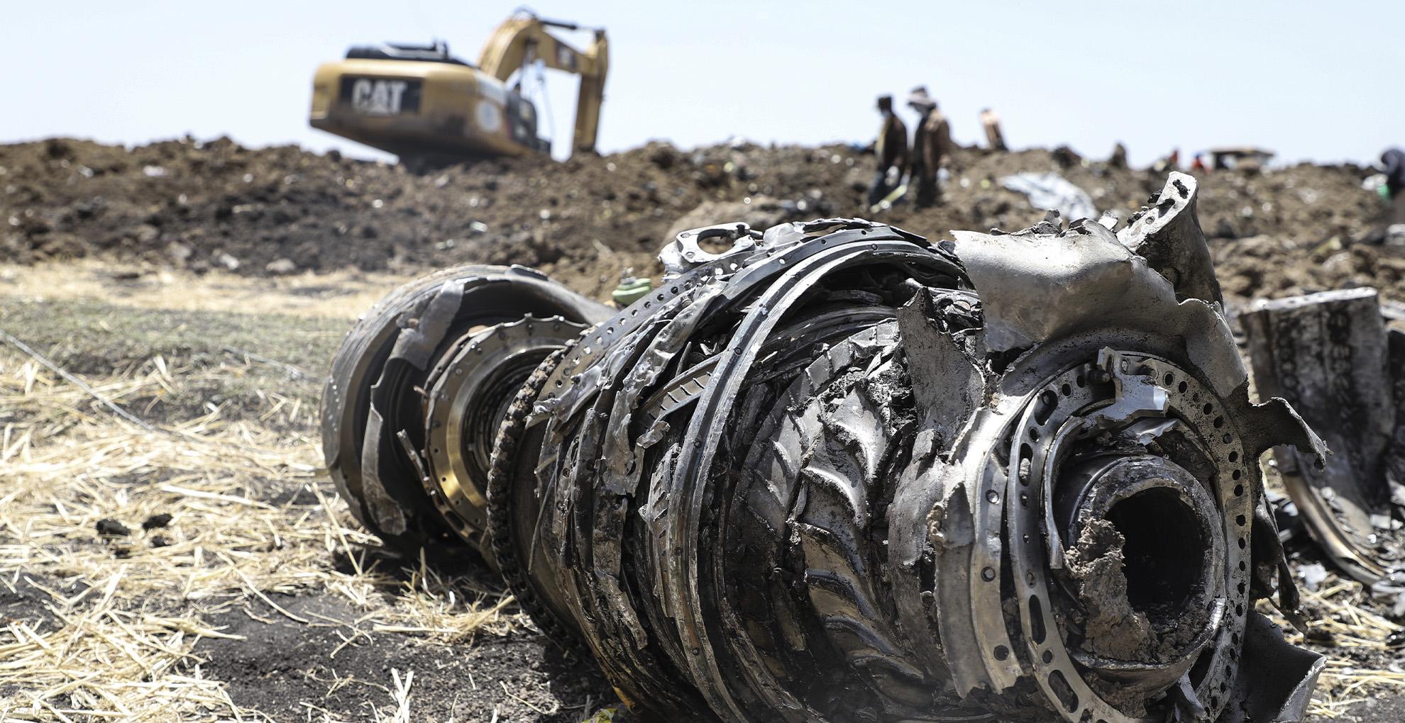 Los restos del avión estrellado de Ethiopian Airlines