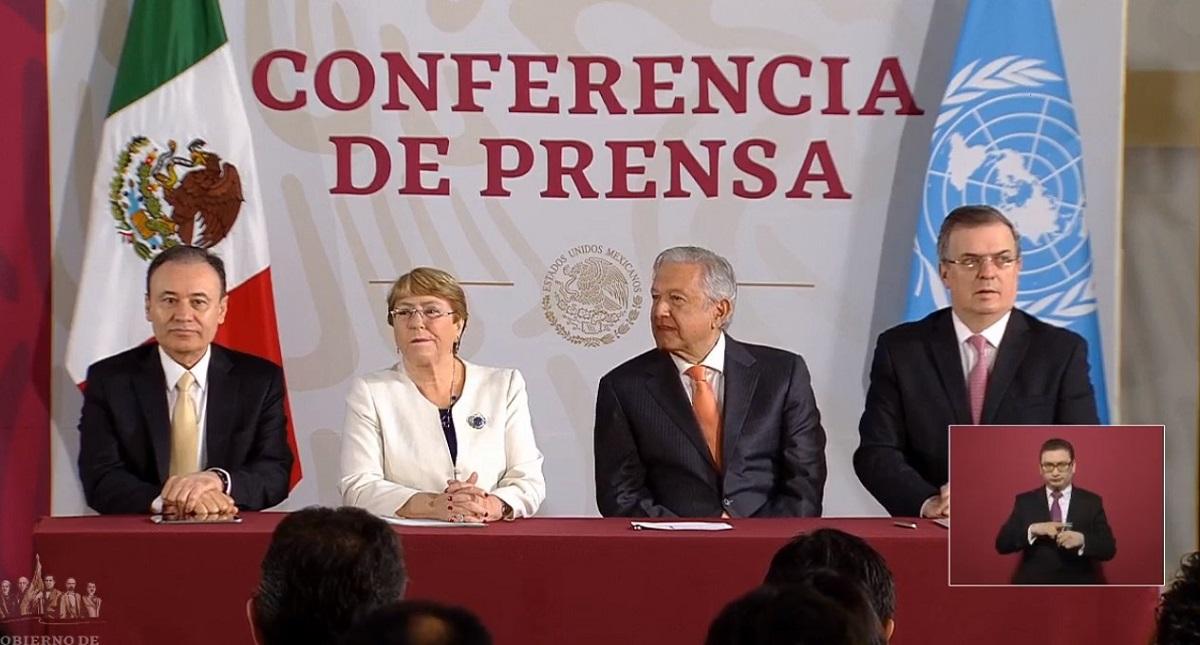 Ceremonia de firma de convenio entre la ONU y México. Captura de pantalla