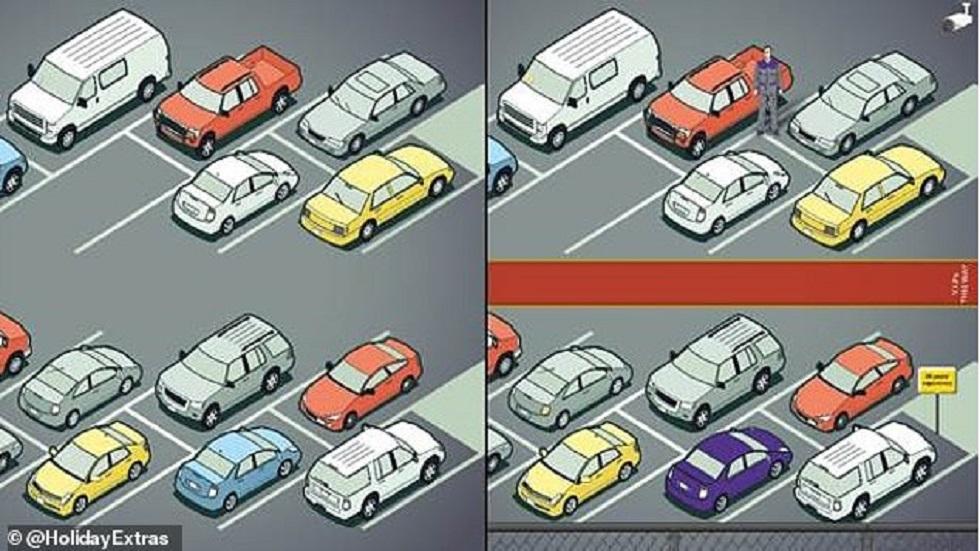 #RetoViral Encuentre las 11 diferencias en menos de 52 segundos - Estacionamiento en aeropuerto. Foto de Holiday Extras