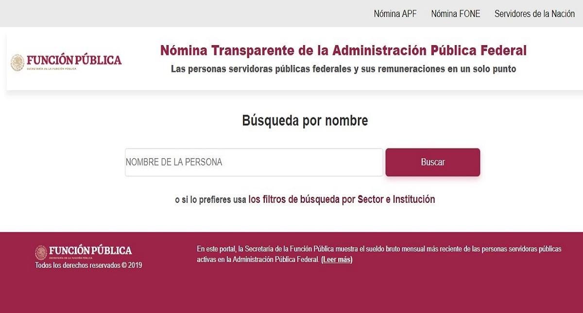 Portal Nómina Transparente. Captura de pantalla