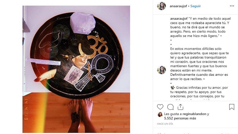 Post de esposa de Pablo Lyle. Foto de @anaaraujof