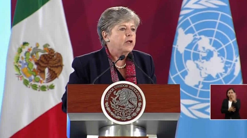 Alicia Bárcena exponiendo el Plan de Desarrollo Integral. Foto de @cepal_onu