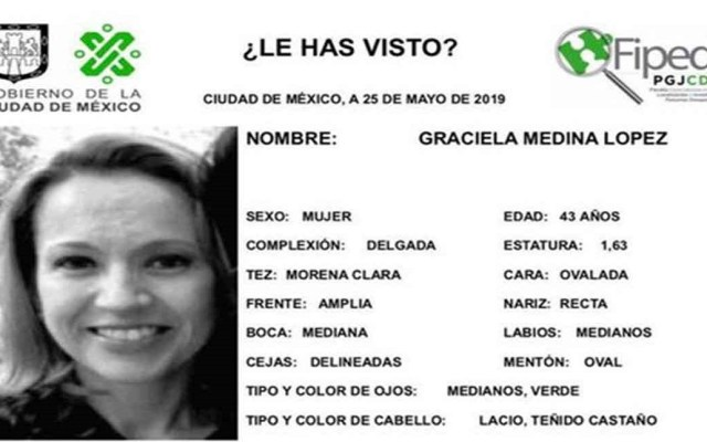 Hallan muerta a mujer reportada como desaparecida en Coyoacán - Ficha de búsqueda de Graciela Media López. Foto de PGJ-CDMX