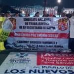 Protestan trabajadores de Oaxaca en Palacio Nacional y el Zócalo - manifestantes oaxaca zocalo palacio nacional