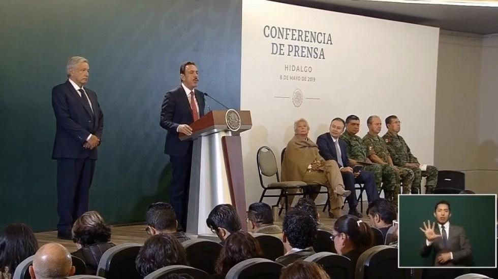 Presentan informe de avance de seguridad en Hidalgo - Omar Fayad en conferencia de prensa de AMLO. Captura de pantalla