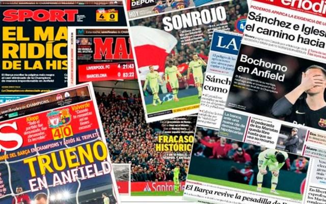 Portadas de la prensa española tras derrota del Barcelona - prensa española derrota barcelona