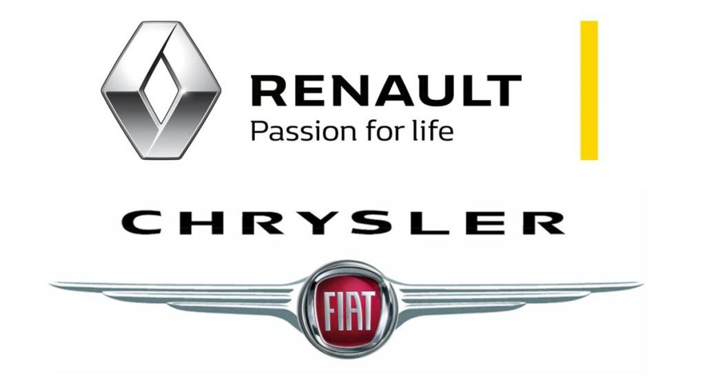 Renault y Fiat-Chrysler anunciarían posibilidad de alianza - Logos de Renault y Fiat-Chrysler. Foto de El Español y Brandemia / LDD