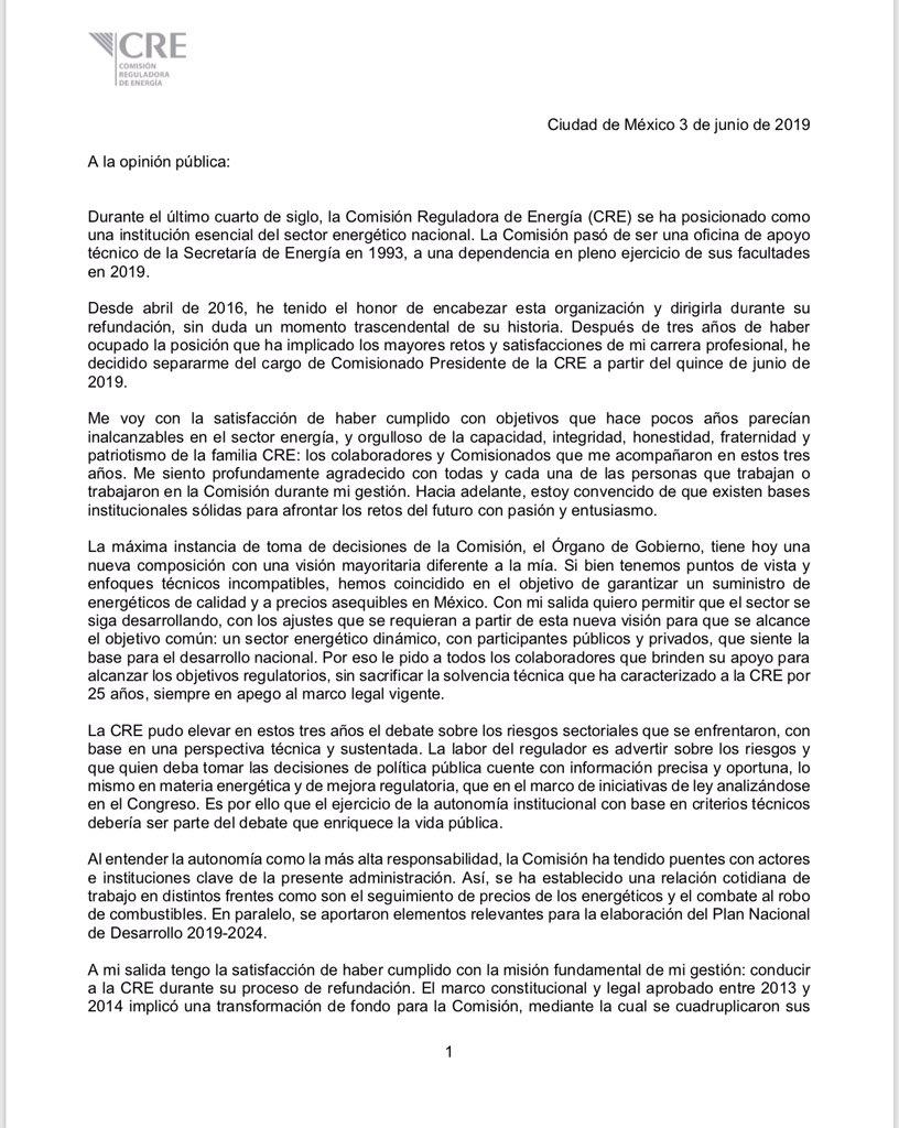 Guillermo García Alcocer renuncia a Presidencia de la CRE