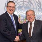 ONU participará en Plan de Desarrollo con 14 agencias: Ebrard - El canciller Marcelo Ebrard con António Guterres, secretario general de la ONU. Foto de @m_ebrard