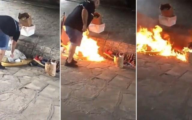 Detienen a hombre que prendió fuego a indigentes en Argentina - Hombre prendiendo fuego a indigentes en Argentina. Captura de pantalla