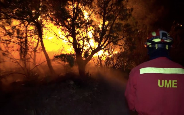Incendio forestal asola el noreste de España - incendio forestal españa calor