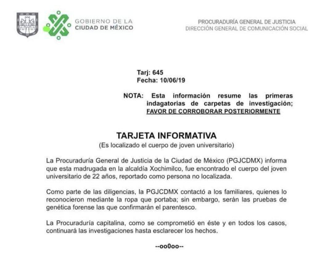 El comunicado de la PGJ sobre Norberto Ronquillo.
