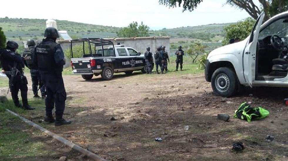 Ataque contra Guardia Nacional y Mando Único deja un herido en Pénjamo - Enfrentamiento entre autoridades y civiles armados. Foto de @l4nd3t4
