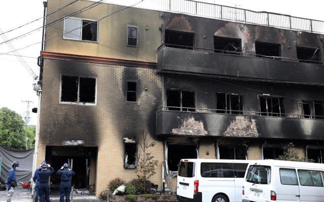 Cien personas investigan incendio intencionado en Japón que causó 33 muertos - Controlado el incendio en Kioto, Japón, tras Atentado. Foto de EFE/EPA/ JIJI JAPAN OUT EDITORIAL.