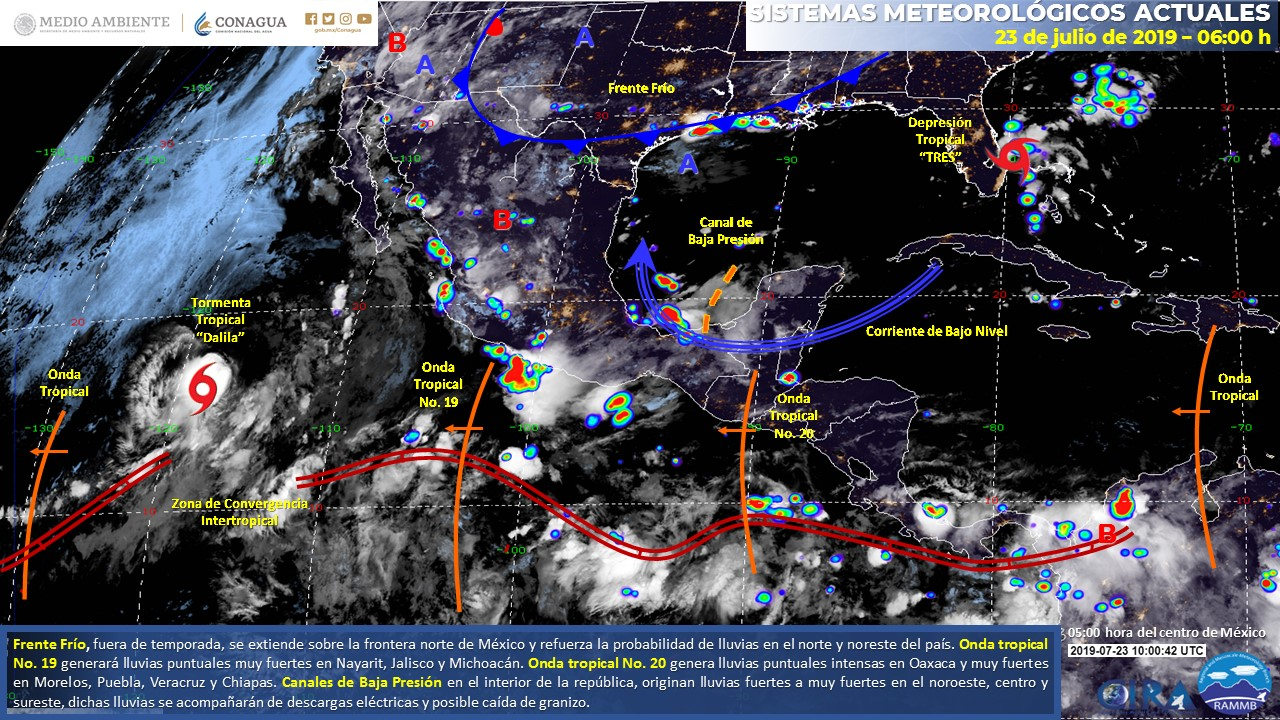 El mapa de los sistemas meteorológicos actuales. Datos de Conagua - SMN.