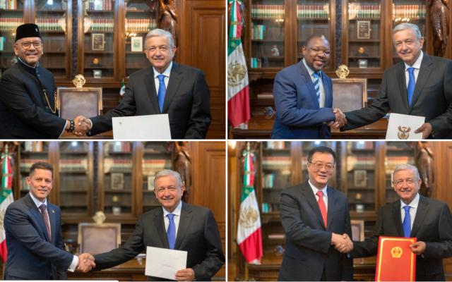 López Obrador recibe cartas credenciales de nuevos embajadores en México - Recibe López Obrador a los nuevos embajadores de las Repúblicas de Indonesia, Sudáfrica, Nicaragua y China.