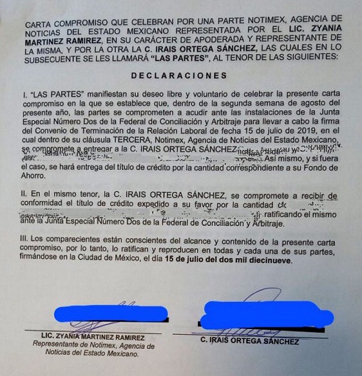 Carta Compromiso de despidos de Notimex. Foto de @Changuito3