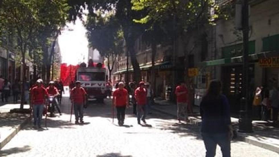 Frente Popular Francisco Villa marcha hacia el Congreso de la Ciudad de México - Frente Popular Francisco Villa sobre la calle de Tacuba. Foto de OVIAL