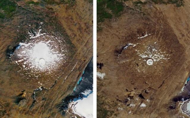 Funeral de glaciar derretido por calentamiento global - Glaciar antes y después de su derretimiento. Foto de NASA