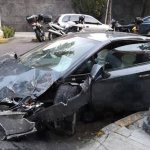 Llevan el Lamborghini chocado en la Roma a Ministerio Público