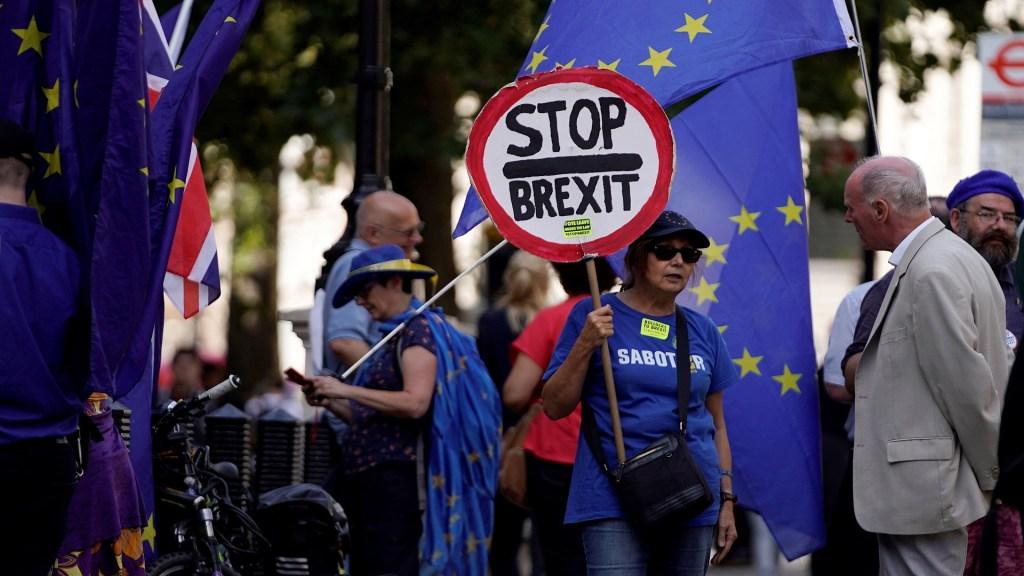 Tribunal desestima demanda contra suspensión del Parlamento británico - Manifestación contra el Brexit. Foto de EFE