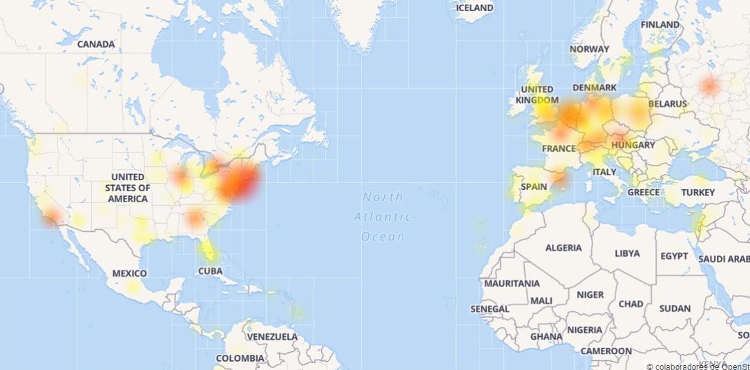 Mapa de caída de Instagram. Foto de downdetector.com