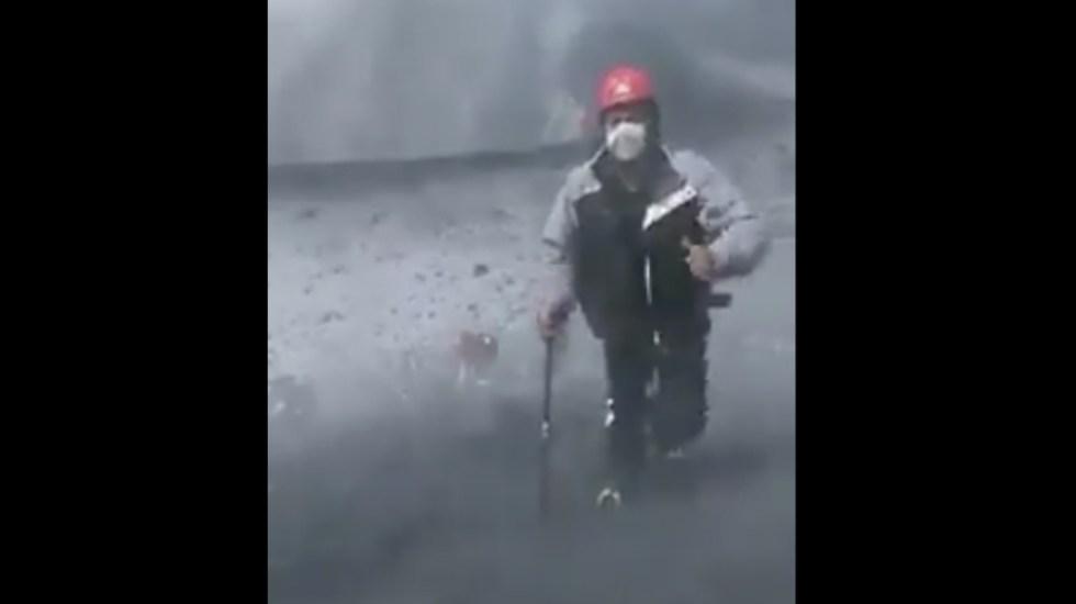 #Video Alpinistas caminan en cráter del Popocatépetl pese a prohibición - Foto de @ICCSV_oficial