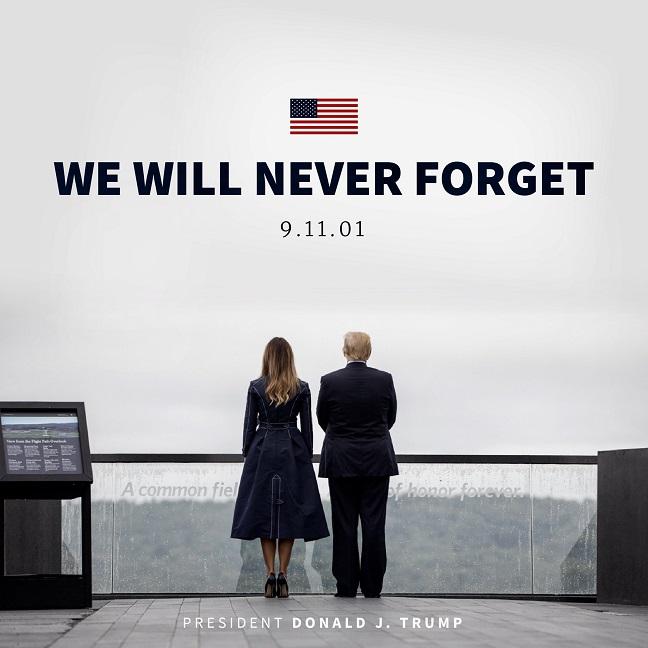 Anuncio del homenaje a víctimas del 11S por parte del presidente Trump y su esposa. Foto de @WhiteHouse