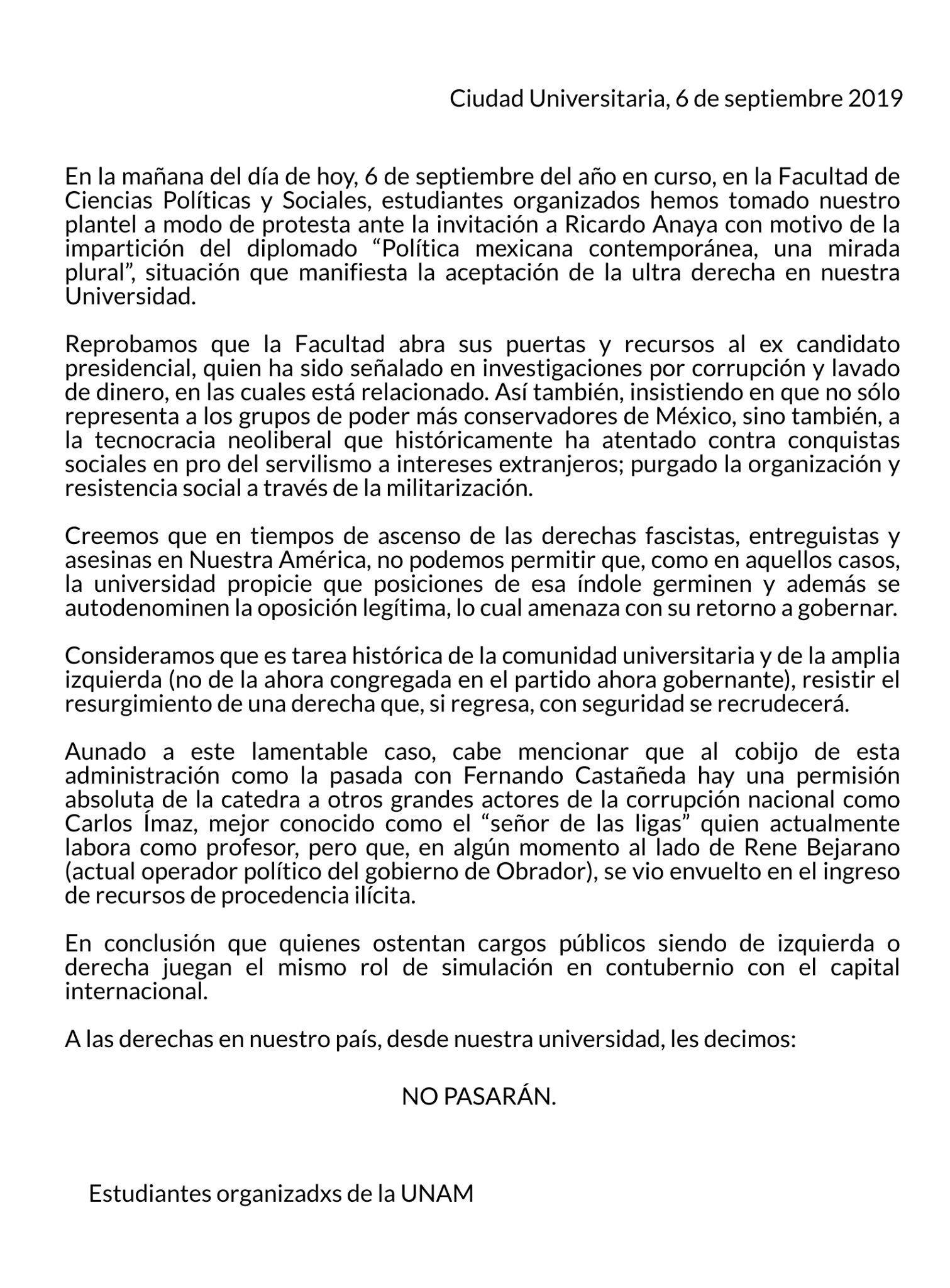 Comunicado por toma de la FCPyS de la UNAM. Foto de @Mova_03