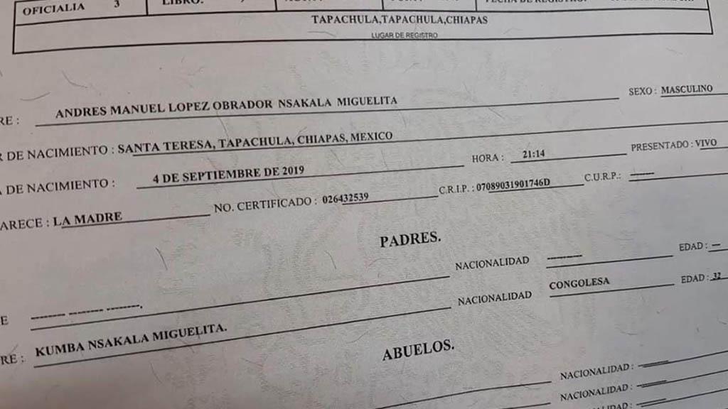 Hijo de africana López Obrador nombre migrante