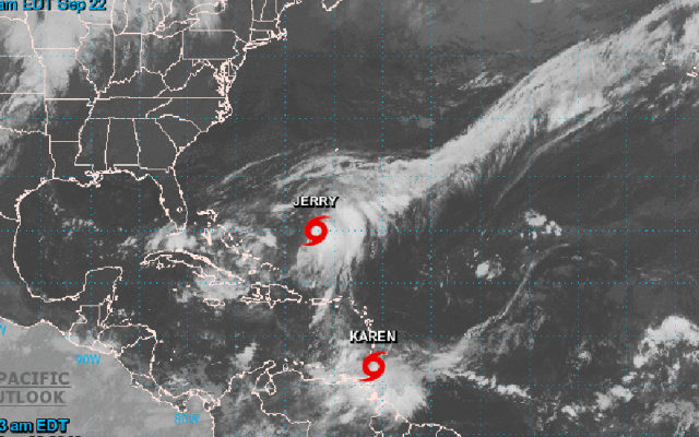 Se forma la tormenta tropical Karen en el Océano Atlántico - Las tormentas tropicales Karen y Jerry en el Atlántico. Foto de @NHC_Atlantic