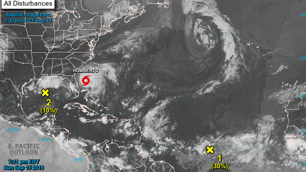 Humberto se fortalece en su camino al norte, Bermudas deben estar atentas - Tormenta tropical Humberto NHC