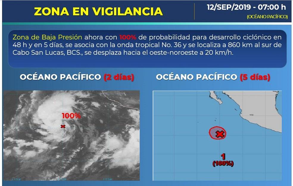 Zona de baja presión en el Océano Pacífico. Foto de Conagua