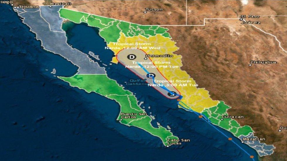 Alerta Amarilla en Sonora y Sinaloa por tormenta Narda - El paso previsto de Narda en Sonora y Sinaloa. Foto de @CNPC_MX
