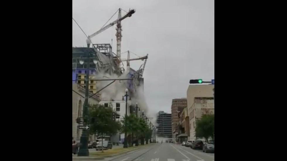 #Video Así ocurrió el colapso en hotel de Nueva Orleans - Nueva Orleans accidente colapso grúa
