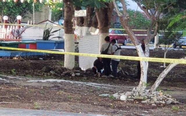 Hallan cabeza humana en Cancún frente a cuartel militar - Sitio donde hallaron cabeza humana en Cancún. Foto de Noticaribe